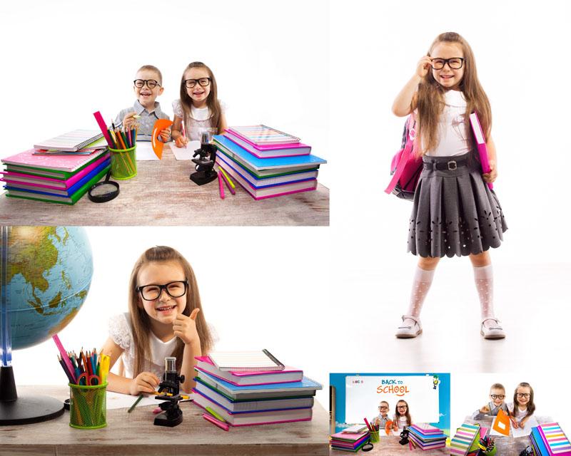 爱学习的国外小孩高清图片