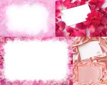 粉色花瓣丝绸相框高清图片