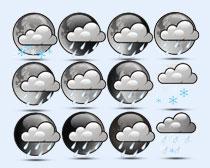 黑白风格的云朵PNG图标