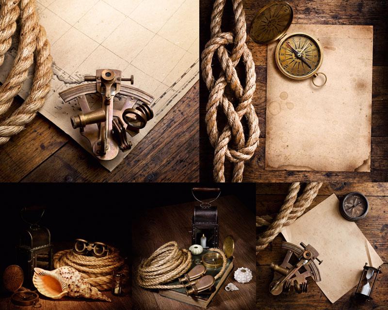 海盗怀表绳子摄影高清图片