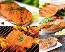 烤鱼块摄影高清图片