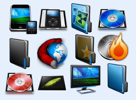 图标素材 系统图标 显示器 拉链文件夹 闪电 垃圾桶 音响 碟片 ps图标