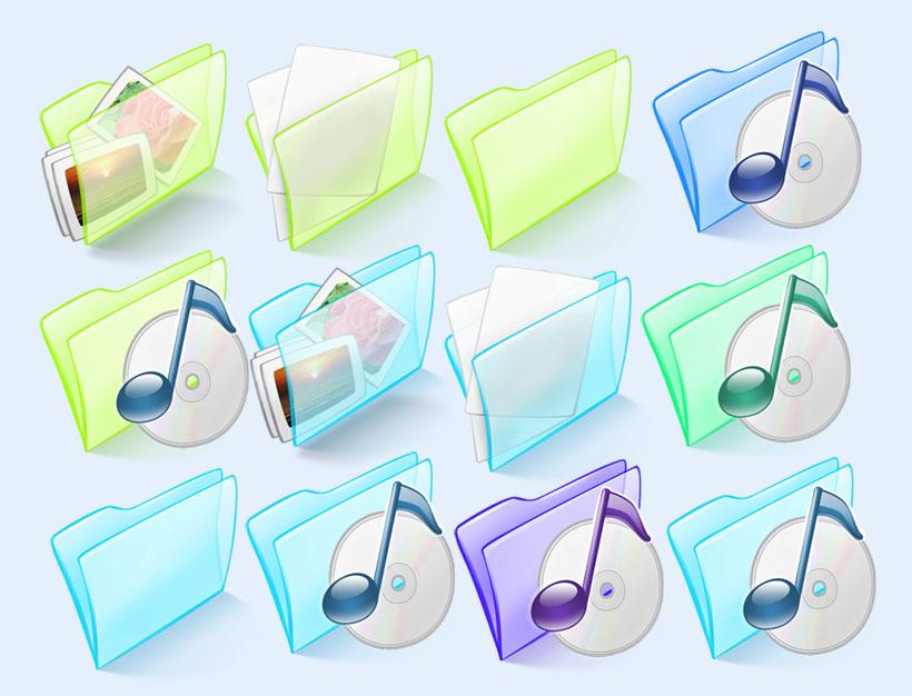 半透明的音乐文件夹png图标