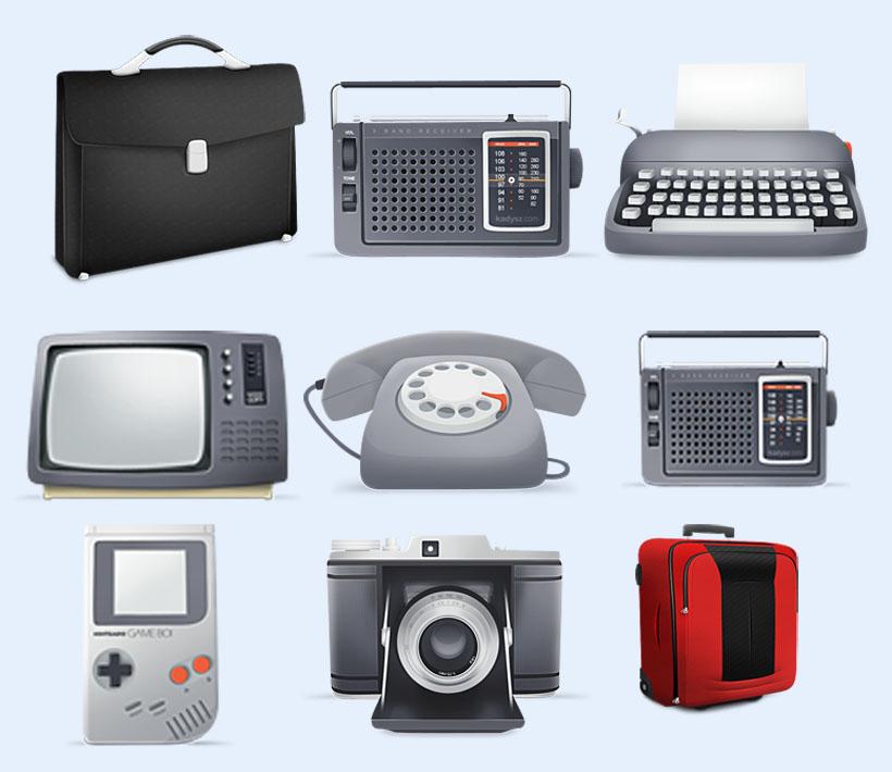 黑白电视机png图标 - 爱图网设计图片素材下载