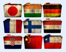 国旗风格的文件夹PNG图标