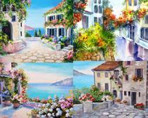 油墨建筑景观画高清图片