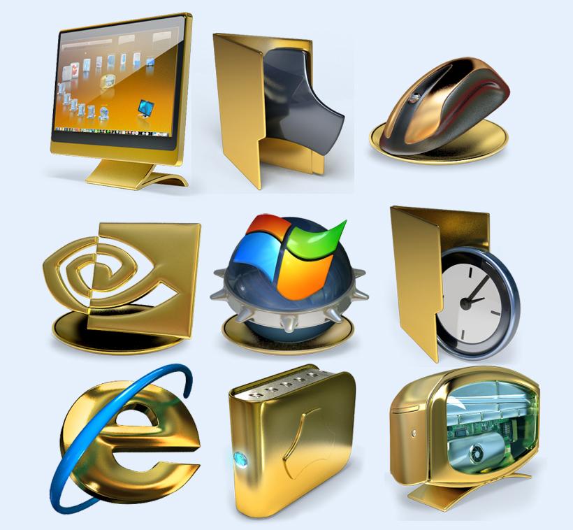 金色的鼠标png图标 - 爱图网设计图片素材下载