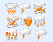 橙色的天气预报PNG图标