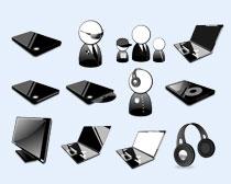 黑色笔记本电脑PNG图标