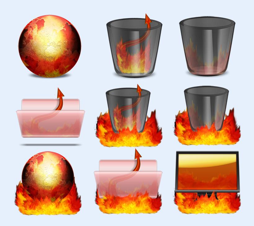 垃圾桶回收站文件夹火焰地球显示器火红图标