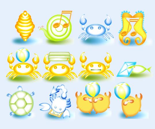 可爱动物螃蟹卡通黄色系统图标png图标