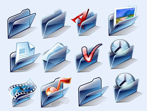 蓝色的字体文件夹png图标 - 爱图网设计图片素材下载