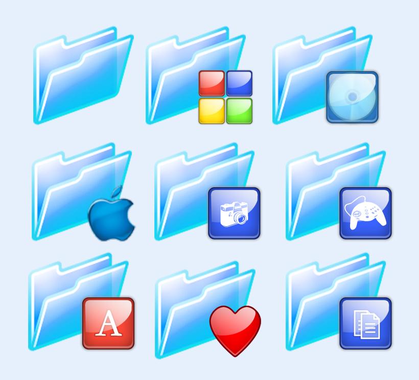 蓝色透明的文件夹png图标