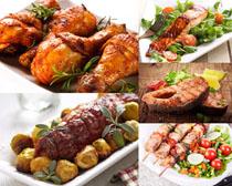 烤鸡腿鱼排美食高清图片