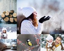 冬天风景与母子摄影高清图片