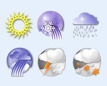 蓝色风格的天气预报PNG图标