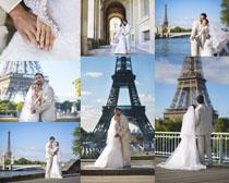 巴黎塔下的婚纱摄影高清图片