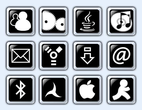 黑白风格的苹果系统png图标