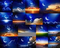 夜色月亮星空摄影高清图片
