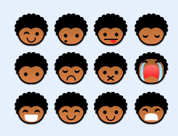 可爱图标非洲黑人头像系统