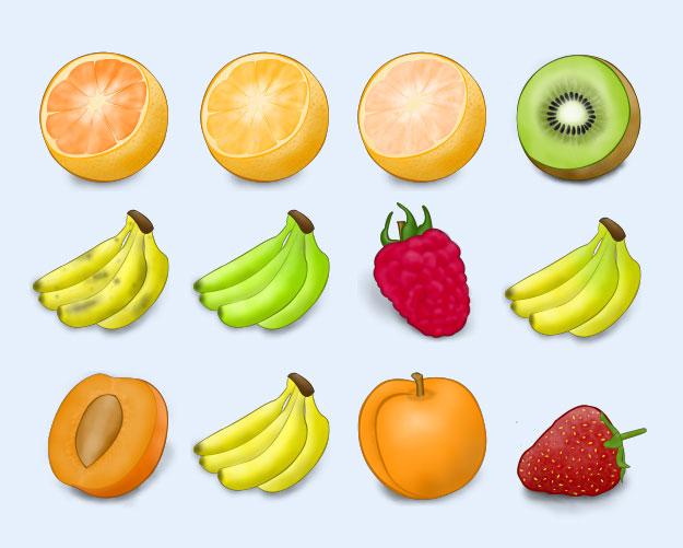 爱图首页 图标素材 生活图标 水果手绘 电脑 苹果 橘子 草莓 猕猴桃