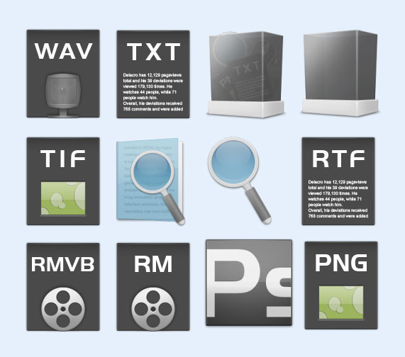 长方形风格的文件格式png图标