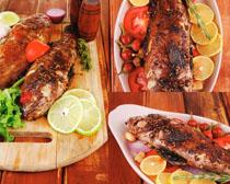 美食烤鱼摄影高清图片