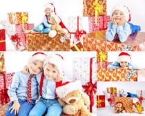 新年礼物与儿童拍摄高清图片