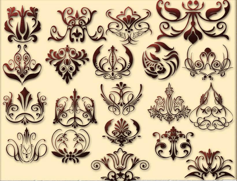 欧式花纹图案PS形状素材