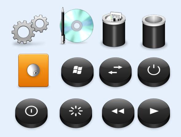 黑色的开关按钮png图标图片