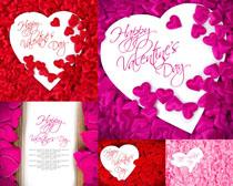 玫瑰花瓣与爱心摄影高清图片