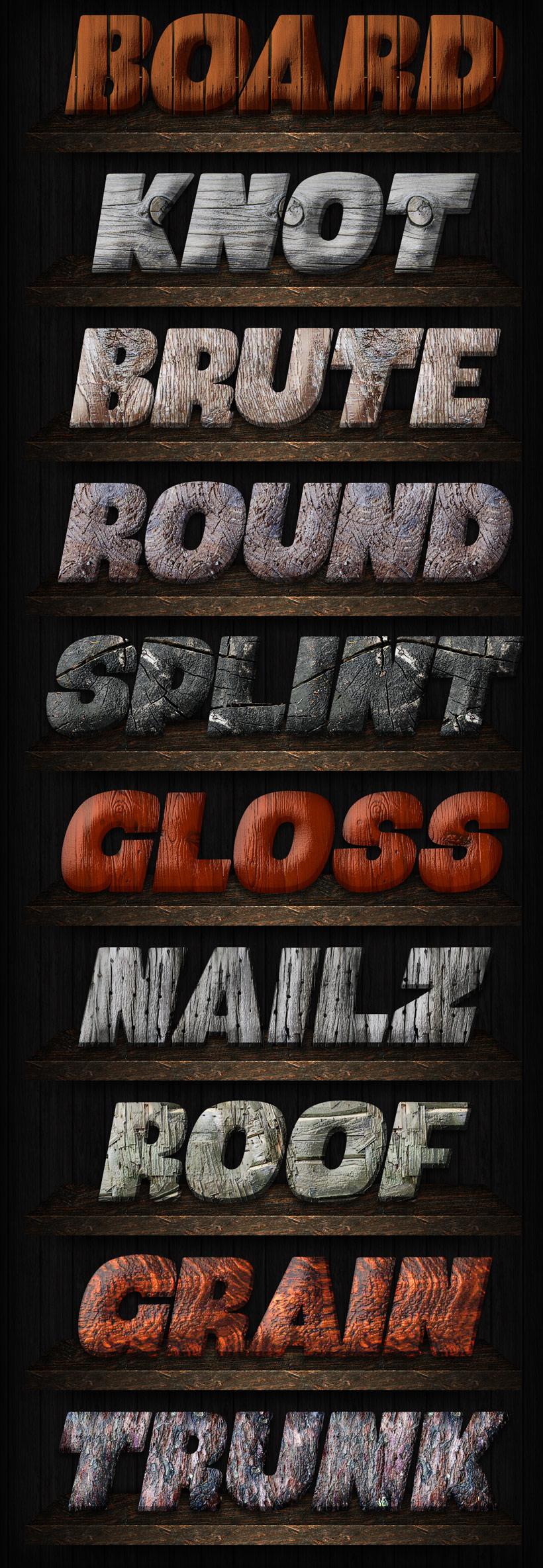 木头纹理字体样式ps素材