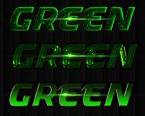 绿色荧光字字体样式PS素材