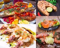 烤鱼虾摄影高清图片