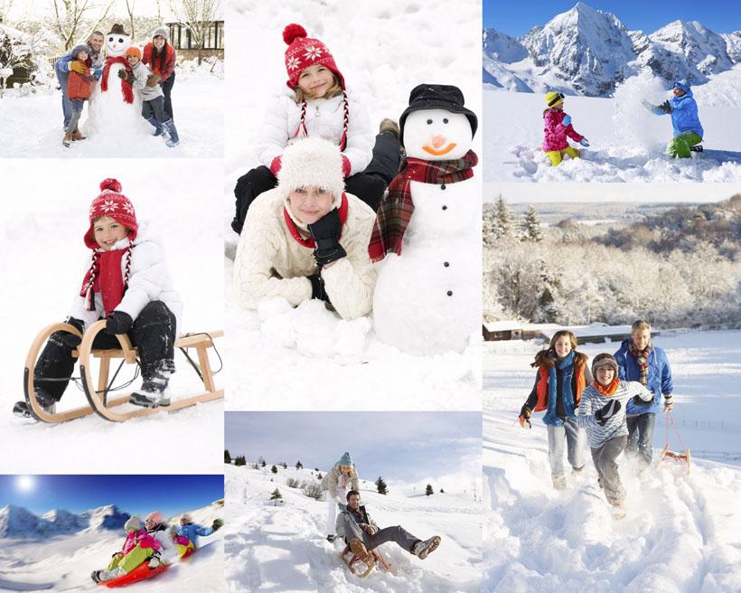雪地玩耍的小孩摄影高清图片