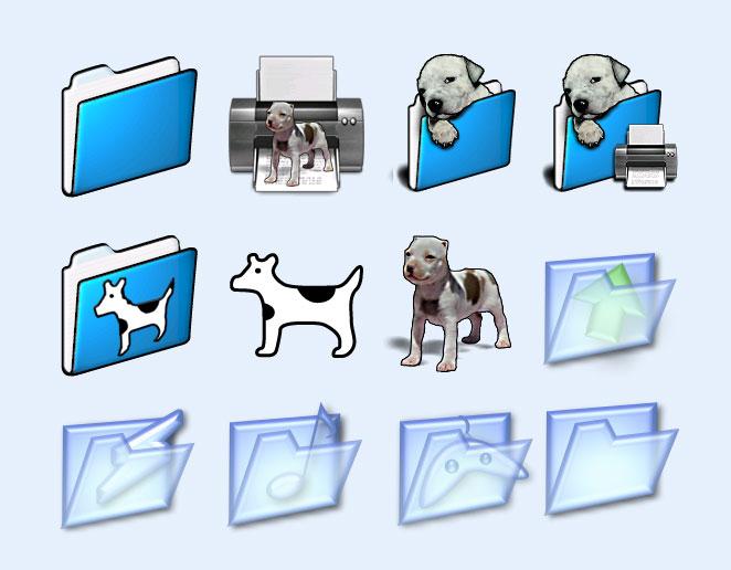 可爱的狗狗文件夹png图标