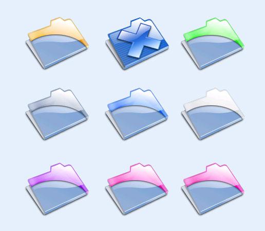 蓝色的透明文件夹png图标