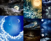 夜色星光月亮摄影高清图片
