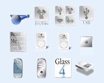 白色的苹果显示器PNG图标