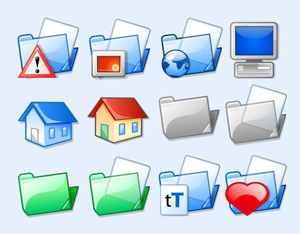 透明的心形文件夹png图标