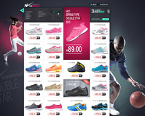 淘宝篮球鞋足球鞋促销页面设计PSD素材