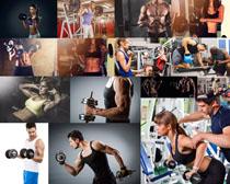 力量與肌膚健身男女攝影高清圖片