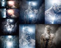 星光下的伤痕男人高清图片