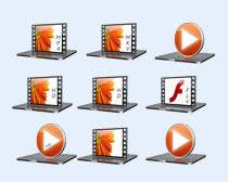 橙色的系統媒體圖標PNG圖標