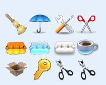 雨傘和剪刀PNG圖標