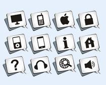 灰白风格的手机系统图标PNG图标