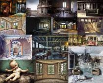 廢棄的建筑物攝影高清圖片