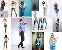 牛仔裤时装女模特摄影高清图片