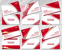 典雅红色名片设计PSD素材