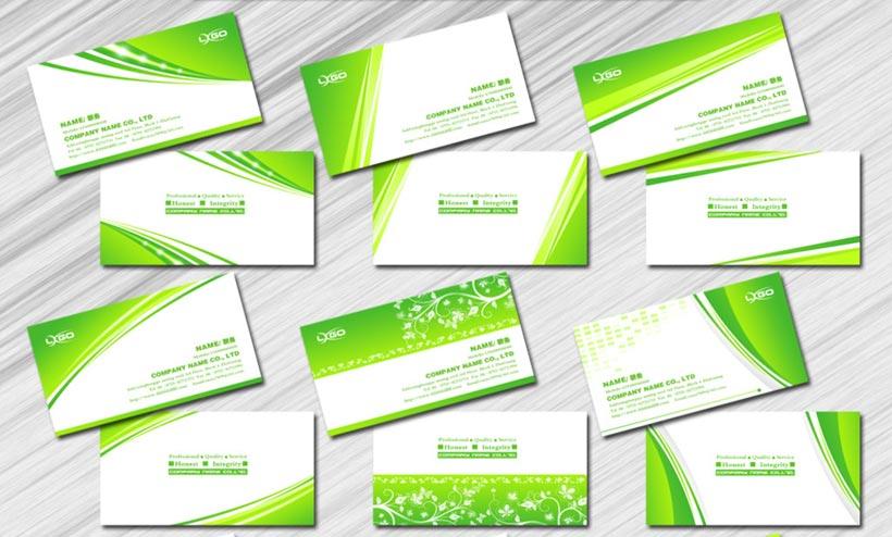浅绿色花纹名片卡片设计PSD素材
